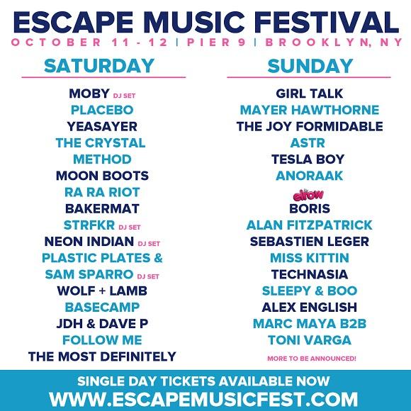 Escape Music Festival Lineup